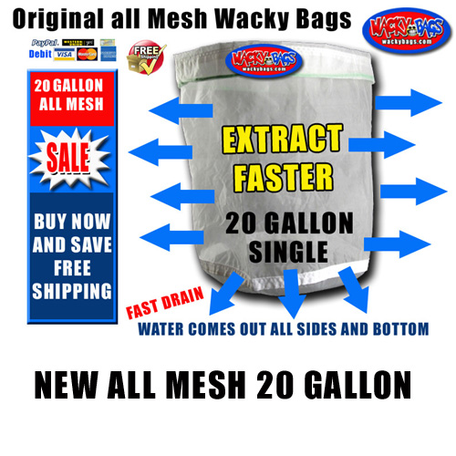 20 Gallon all mesh Single Bubble Hash Bags