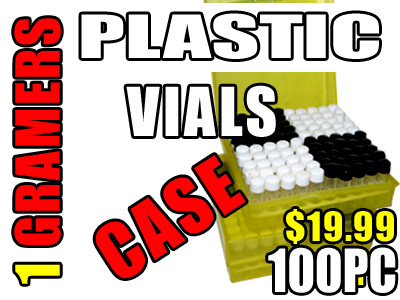 Plastic 1 Grams Vials - 100 pc with Case